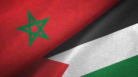 Morocco and Palestine two folded flags together Zdjęcie Seryjne - 137465745