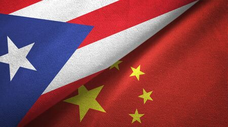 Puerto Rico and China flags together textile cloth, fabric texture Zdjęcie Seryjne - 137828371