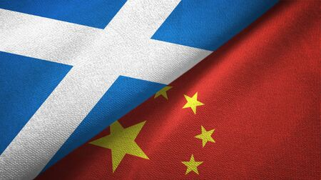 Scotland and China flags together textile cloth, fabric texture