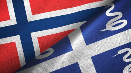 Norway and Martinique snake two folded flags together