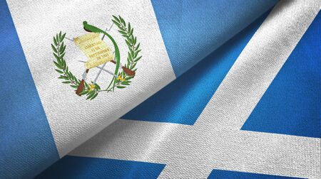 Guatemala and Scotland two folded flags together