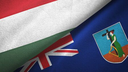 Hungary and Montserrat two folded flags together