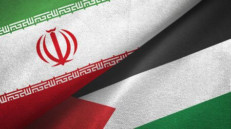 Iran and Palestine two folded flags together