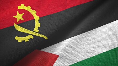 Angola and Palestine two folded flags together 스톡 콘텐츠