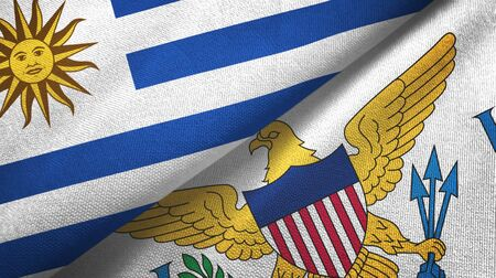 Uruguay and Virgin Islands United States two folded flags together