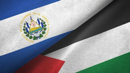 El Salvador and Palestine two folded flags together 스톡 콘텐츠