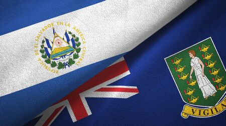 El Salvador and Virgin Islands British two folded flags together 스톡 콘텐츠