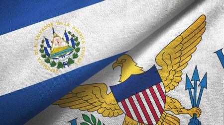El Salvador and Virgin Islands United States two folded flags together 스톡 콘텐츠