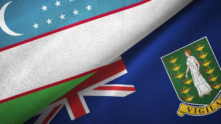 Uzbekistan and Virgin Islands British two folded flags together 스톡 콘텐츠