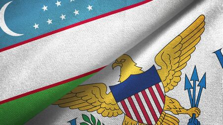 Uzbekistan and Virgin Islands United States two folded flags together 스톡 콘텐츠