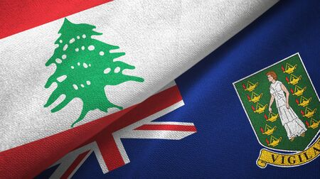 Lebanon and Virgin Islands British two folded flags together 스톡 콘텐츠