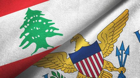Lebanon and Virgin Islands United States two folded flags together