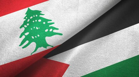 Lebanon and Palestine two folded flags together