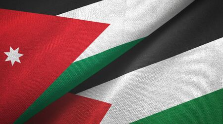 Jordan and Palestine two folded flags together