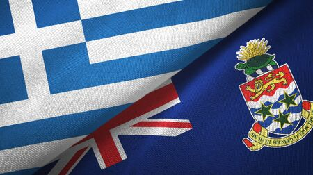 Greece and Cayman Islands two folded flags together Stock Photo