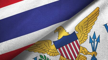 Thailand and Virgin Islands United States two folded flags together 스톡 콘텐츠