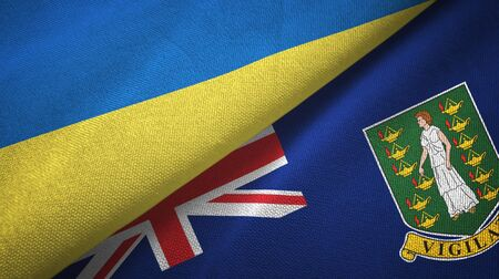 Ukraine and Virgin Islands British two folded flags together
