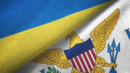 Ukraine and Virgin Islands United States two folded flags together