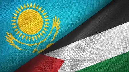 Kazakhstan and Palestine two folded flags together