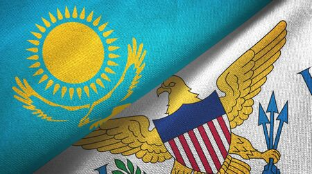 Kazakhstan and Virgin Islands United States two folded flags together