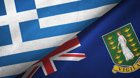 Greece and Virgin Islands British two folded flags together 스톡 콘텐츠