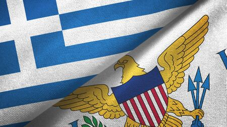 Greece and Virgin Islands United States two folded flags together