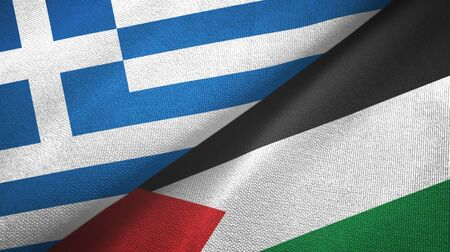 Greece and Palestine two folded flags together