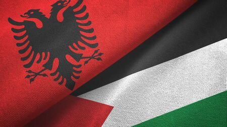 Albania and Palestine two folded flags together