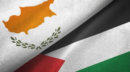 Cyprus and Palestine two folded flags together