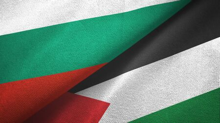 Bulgaria and Palestine two folded flags together 스톡 콘텐츠