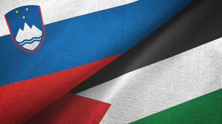 Slovenia and Palestine two folded flags together