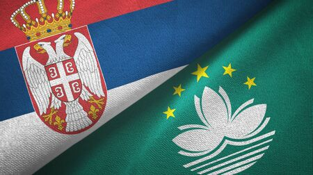 Serbia and Macau two folded flags together
