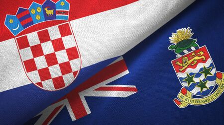 Croatia and Cayman Islands two folded flags together Stock Photo