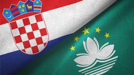 Croatia and Macau two folded flags together