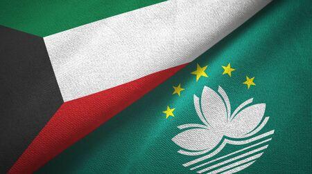 Kuwait and Macau two folded flags together