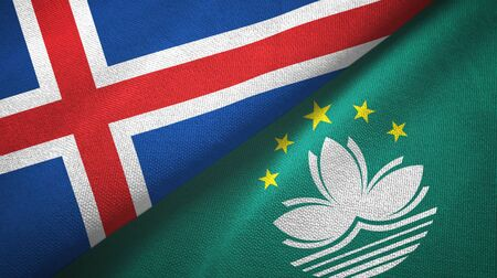 Iceland and Macau two folded flags together Stock Photo