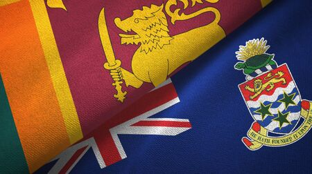 Sri Lanka and Cayman Islands two folded flags together Stock Photo