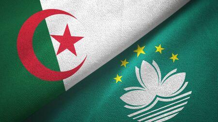 Algeria and Macau two folded flags together