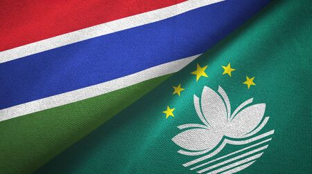 Gambia and Macau two folded flags together
