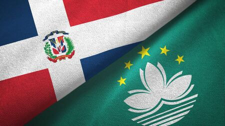 Dominican Republic and Macau two folded flags together