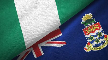 Nigeria and Cayman Islands two folded flags together