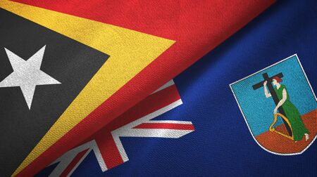 East Timor and Montserrat two folded flags together