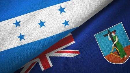 Honduras and Montserrat two folded flags together Stock Photo