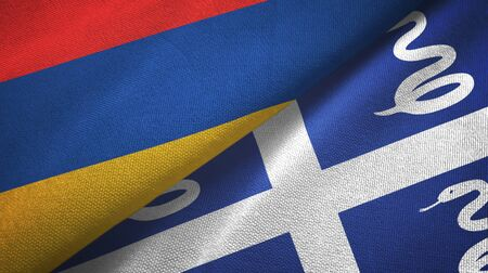 Armenia and Martinique snake two folded flags together