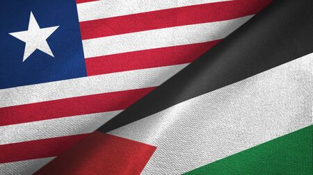 Liberia and Palestine two folded flags together