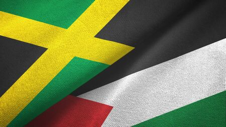 Jamaica and Palestine two folded flags together