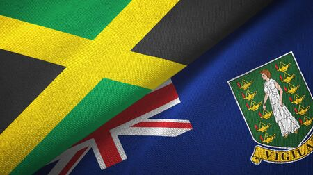 Jamaica and Virgin Islands British two folded flags together