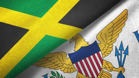 Jamaica and Virgin Islands United States two folded flags together 스톡 콘텐츠