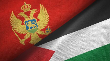 Montenegro and Palestine two folded flags together