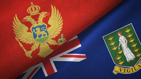 Montenegro and Virgin Islands British two folded flags together 스톡 콘텐츠